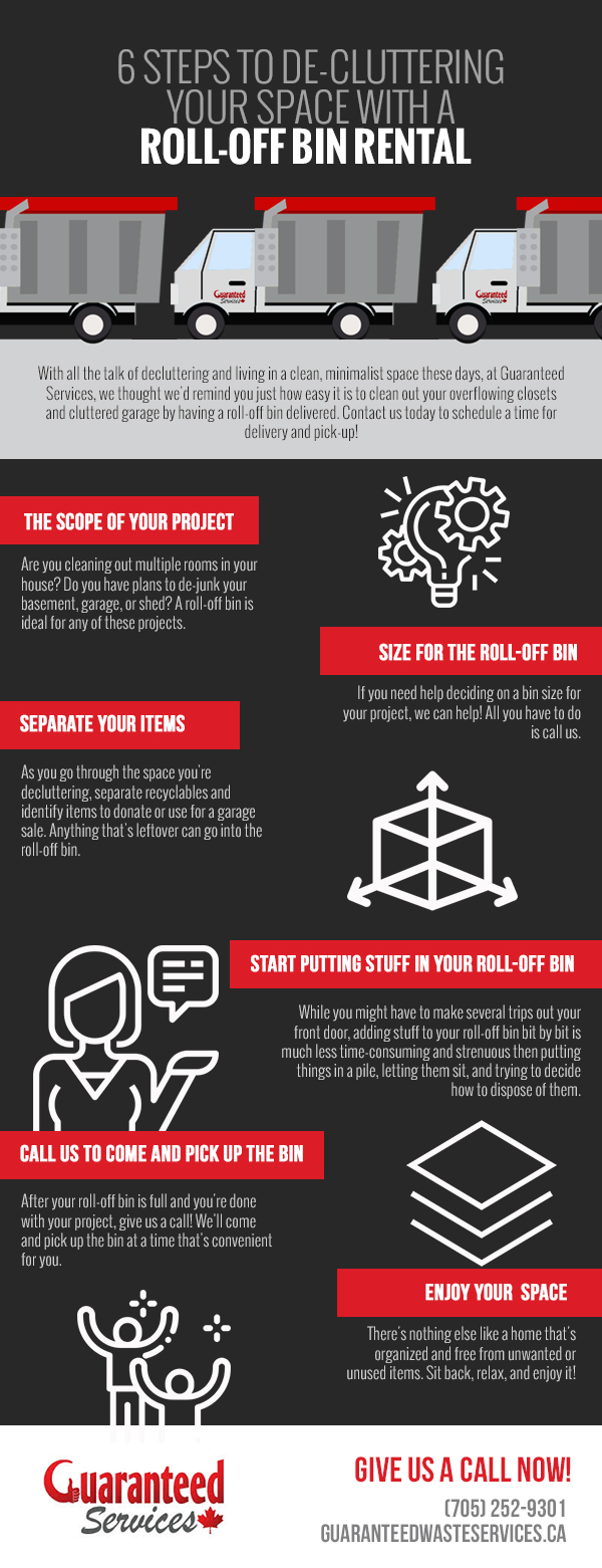 6 Steps to De-Cluttering Your Space with a Roll-Off Bin Rental [infographic]